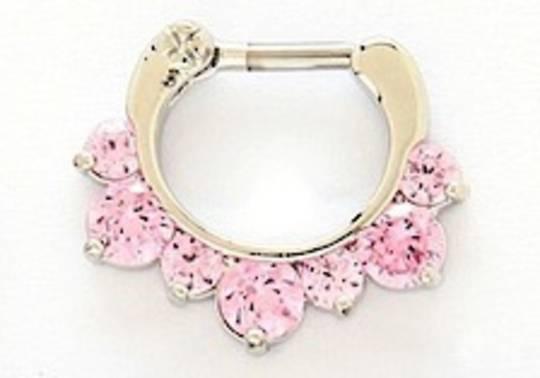 16g Fancy Pink Jewelled Septum Clicker