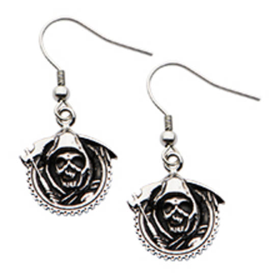 Sons of Anarchy Stainless Steel Grim Reaper Geared with Gunsickle Dangle Earrings