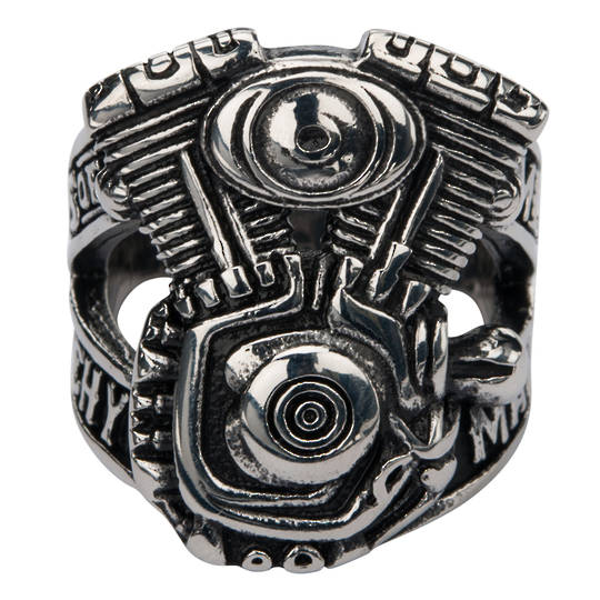 Sons of Anarchy Stainless Steel V-Twin Men of Mayhem Engine Ring.
