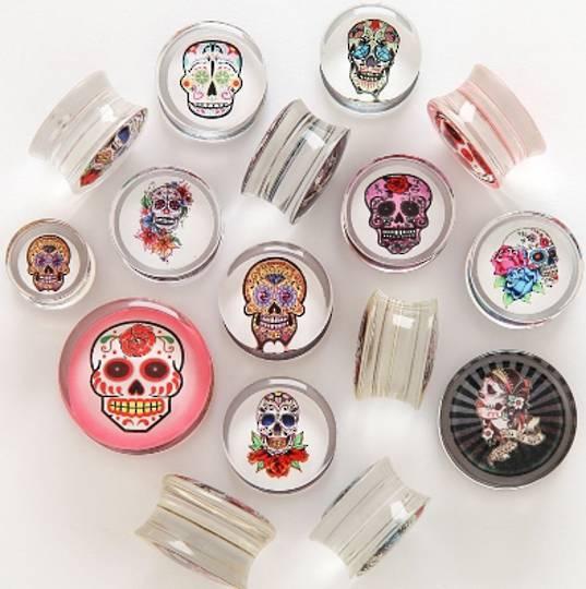 Sugar Skull Clear Acrylic Plugs