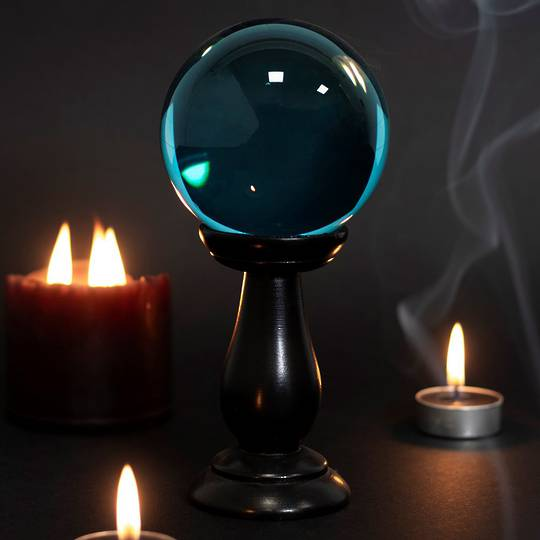 Teal Small Crystal Ball on Wooden Stand 90mm