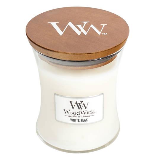 WoodWick Medium Candle White Teak