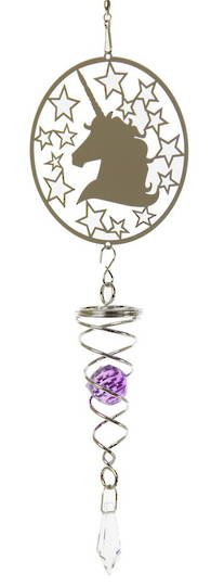 Unicorn Purple Crystal Windspinner
