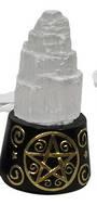 Selenite LED lamp on Pentagram Base