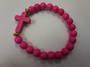 Pink Howlite Cross Bracelet