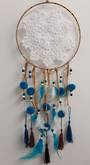 Crochet and Blue Pom Pom Dreamcatcher