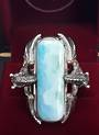 Sterling Silver 2 Dragons with Larimar Ring