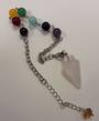 Rose Quartz Plumbob with Chakra Chain Pendulum (p104A)