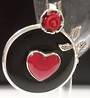 Frida Kahlo Inspired Coral Rose and Heart Onyx Pendant