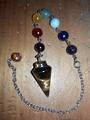 Tigers Eye Pendulum with Chakra Chain (pma10)