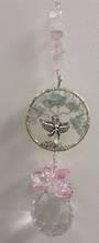 Aquamarine Crystal Tree and Rose Quartz Angel Suncatcher