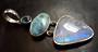 Topaz. Larimar and Rainbow Moonstone Sterling Silver Pendant