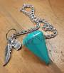 Turquoise Howlite Pendulum with Feather and Owl
