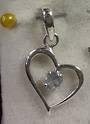 Sterling Silver BLUE TOPAZ HEART PENDANT 2.5CM
