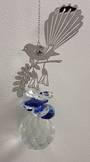 Fantail on Kowhai Blue Suncatcher