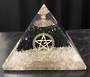Large Quartz with Black Tourmaline With Pentagram Orgonite Pyramid