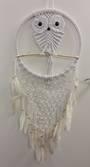 White Owl Net Dreamcatcher 31cms