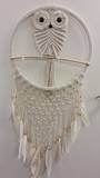 Cream Owl Net Dreamcatcher 31cms