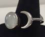 Moon and Moonstone Sterling Silver Adjustable Ring