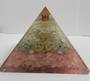 Large Rose Quartz. Amazonite and Moonstone Orgonite Om Pyramid