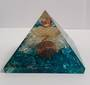 Blue Onyx, Opalite and Quartz Flower of Life Orgonite Pyramid