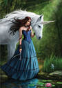"Contemplation"" Unicorn Greeting Card by Anne Stokes"