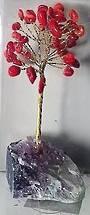 Gemstone Tree Crystal Base Red Coral