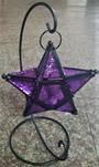 Lantern T Light Holder Purple Star With Stand