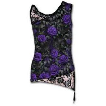 THE WATCHERS - Allover Adj Shoulder Lace Top Black L was $65 now $35