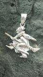 Witch Flying on Broomstick Pendant