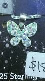 Crystal Evolution White Butterfly Pendant