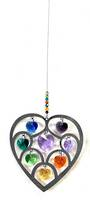 Rainbow Hearts Purple Center Suncatcher