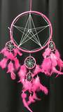 Pink Pentagram with Silver Thread Dreamcatcher  30cms