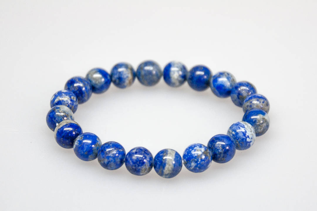 Lapis Lazuli Round Bead Bracelet.