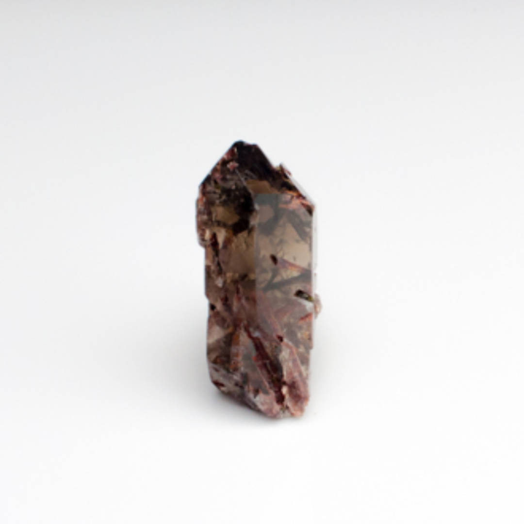 Smokey Quartz Point with Red Epidote(Piemontite)