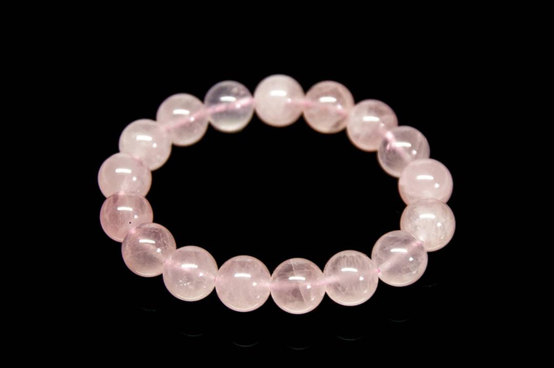 Rose Quartz Round Bead Bracelet- 12mm