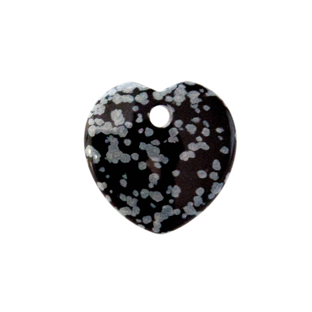 Snowflake Obsidian Drilled Heart Pendant