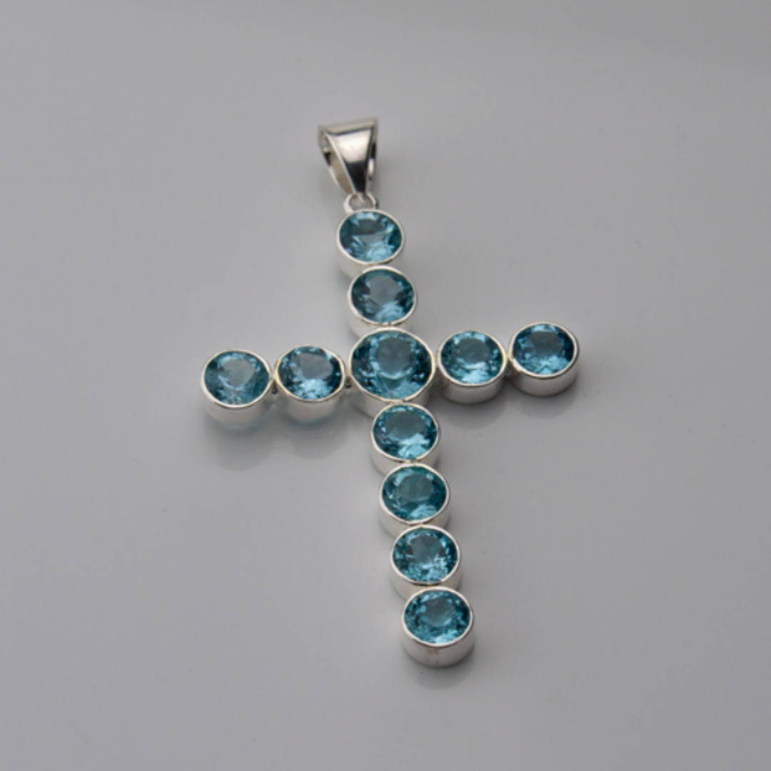Faceted Blue Topaz Cross Pendant