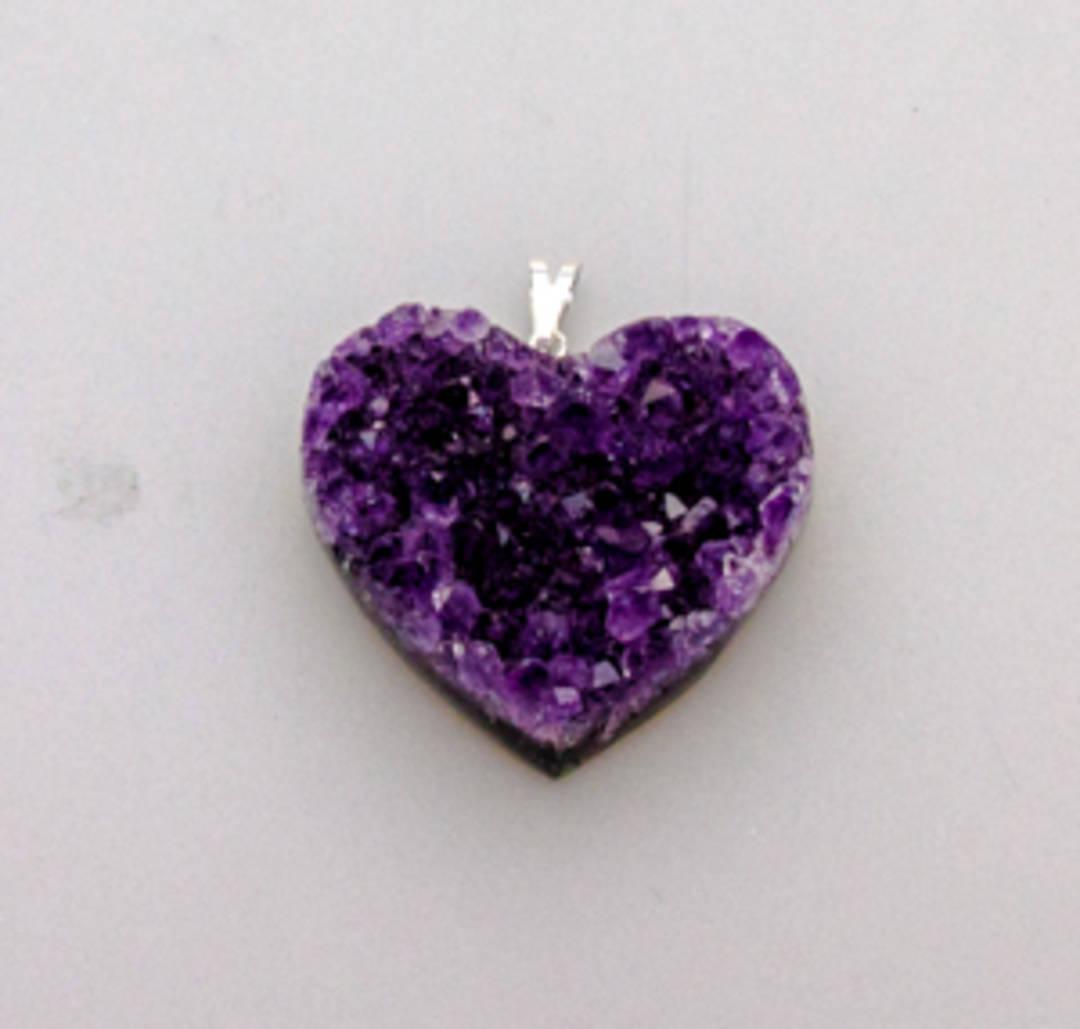 Amethyst Druze Heart Pendant