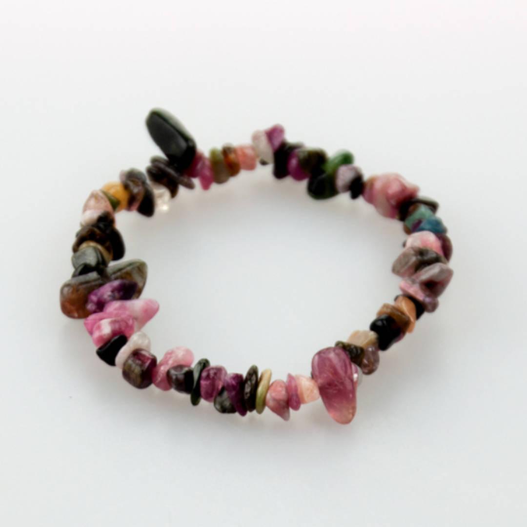 Pink & Green Tourmaline Chip Bracelet