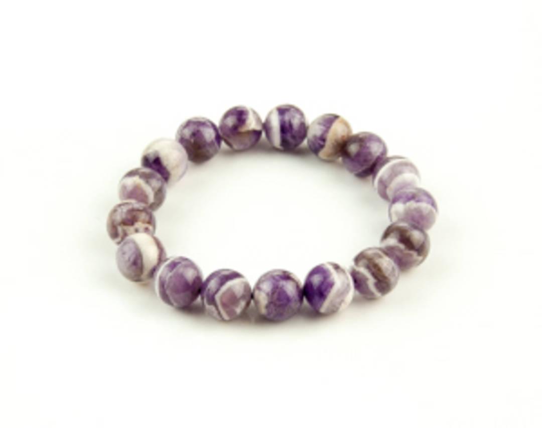 Chevron Amethyst Round Bead Bracelet