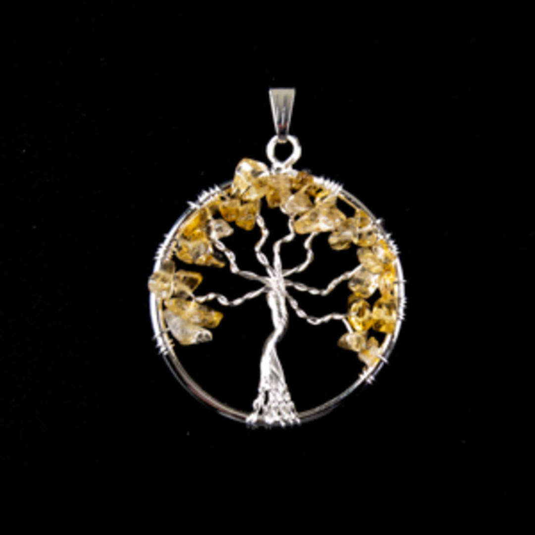 Beautiful handcrafted Citrine tree pendant.