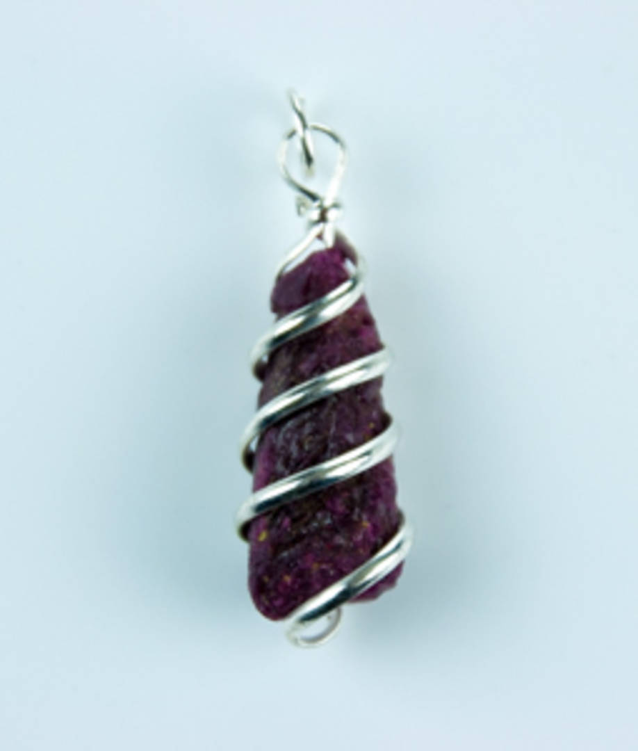 Rough Ruby Wire Wrap Pendant
