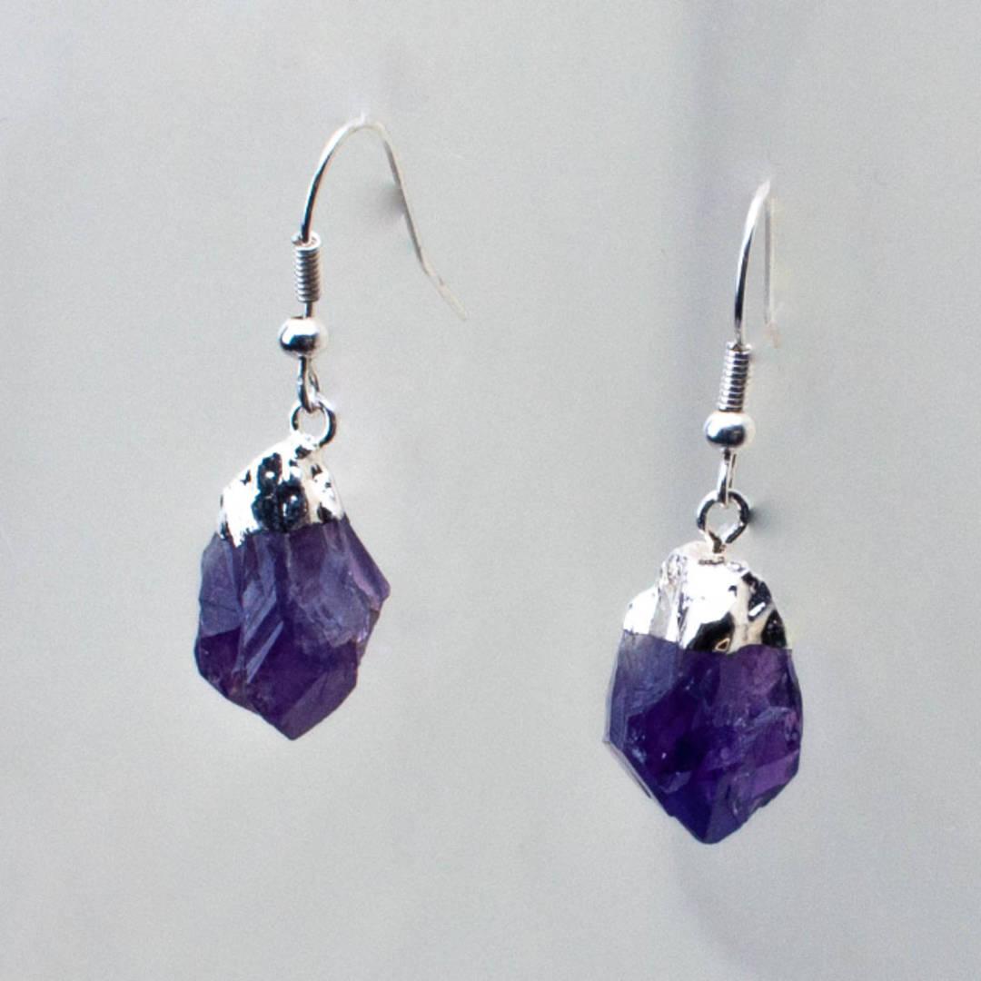 Amethyst Rough Point Earrings
