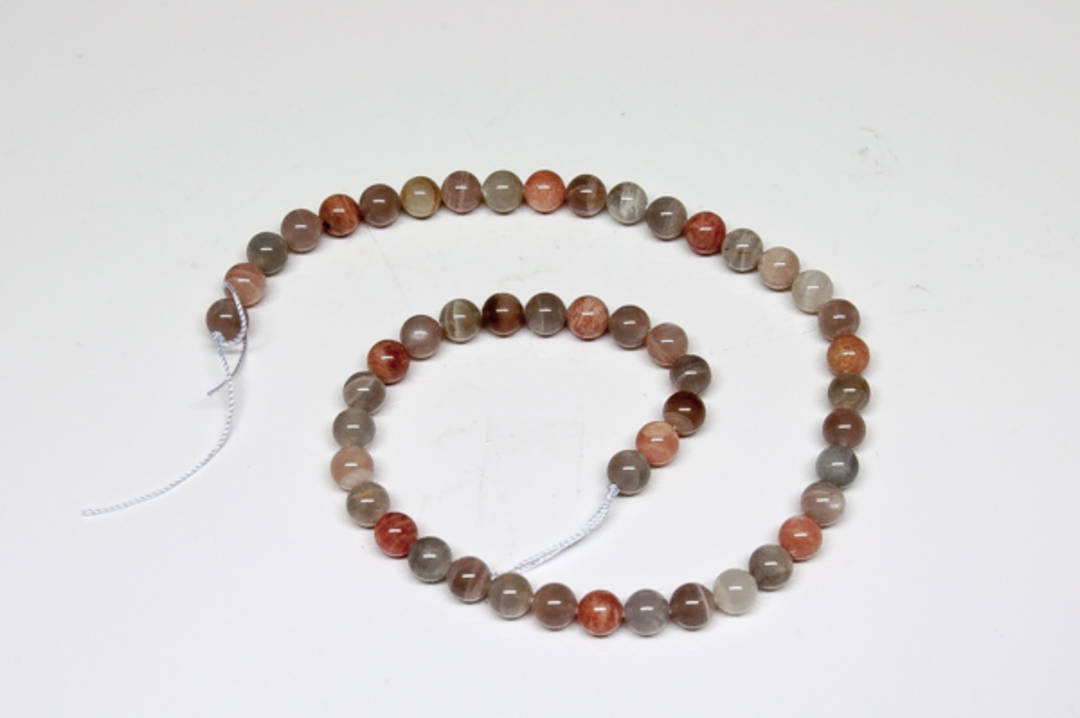 Peach Moonstone Round Bead Strand