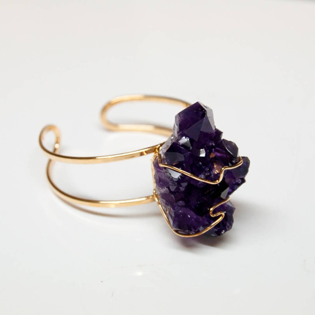 Amethyst Handcrafted Cuff Bracelet.