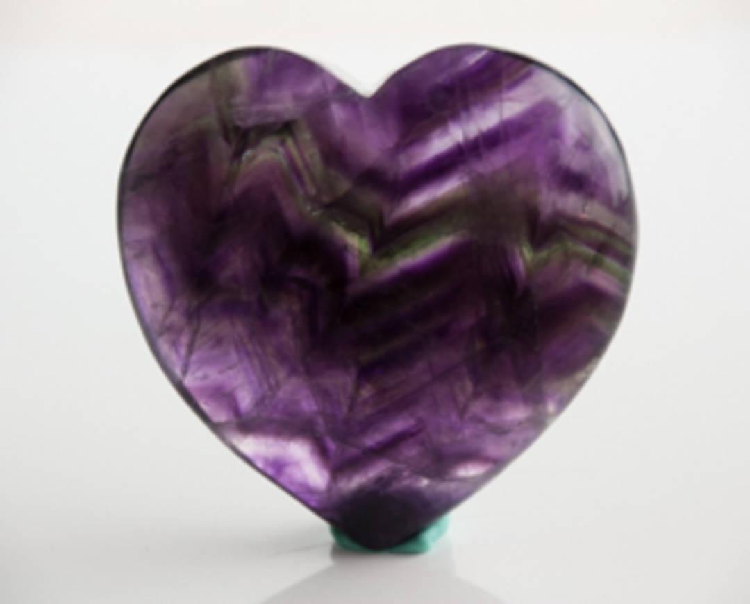 Polished Natural Fluorite Heart