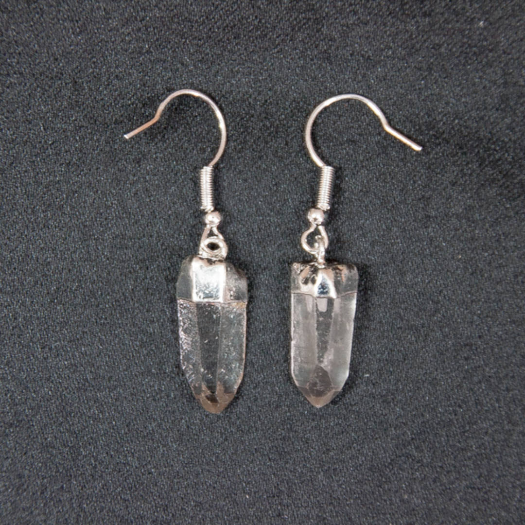 Clear Quartz Point Earrings