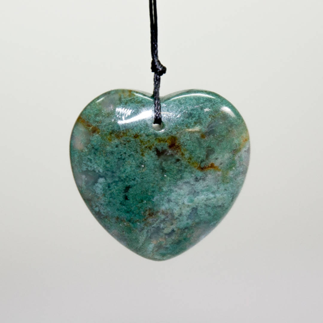 Drilled Moss Agate Heart