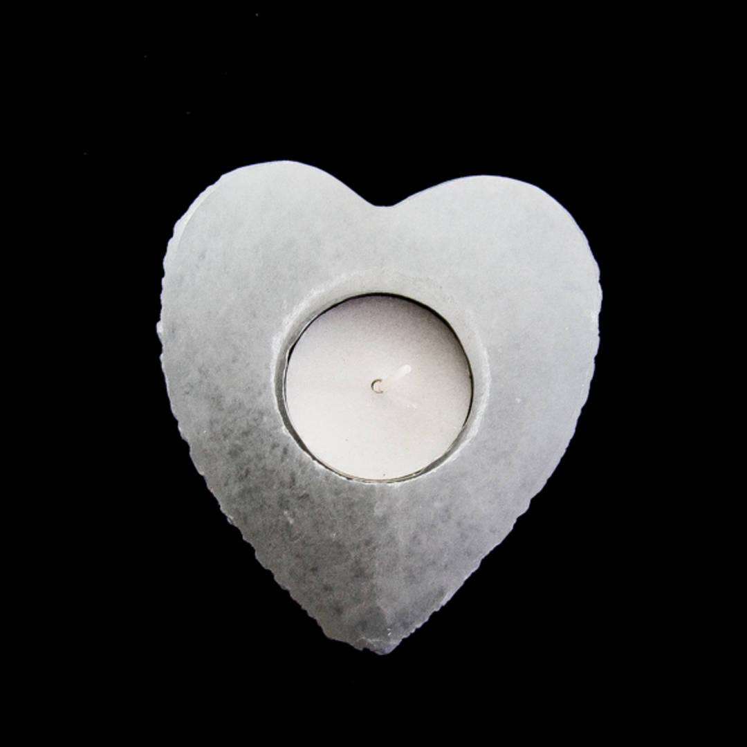 Selenite Heart Candle Holder 